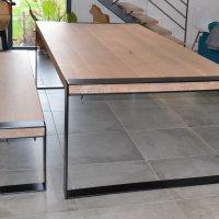 Table et banc chêne et acier